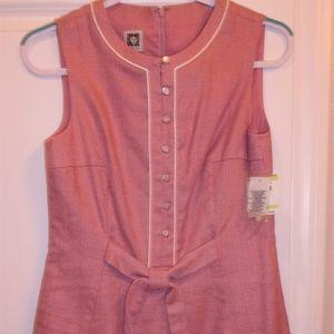 Anne Klein Pink White Linen Blend Sheath Dress